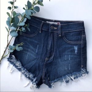 High waisted jean cutoffs